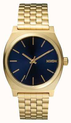 Nixon Zeitmesser | alles hellgold / kobalt | Gold IP Armband | blaues Zifferblatt A045-1931-00