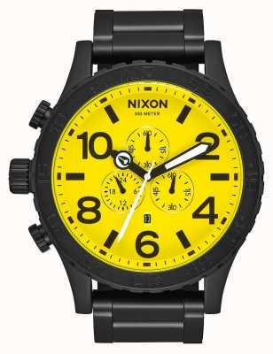 Nixon 51-30 chrono | alle schwarz / gelb | schwarzes IP Stahlarmband | gelbes Zifferblatt A083-3132-00