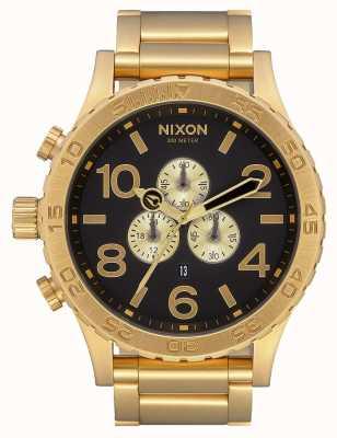 Nixon 51-30 chrono | alles gold / schwarz | Gold IP Armband | schwarzes Zifferblatt A083-510-00