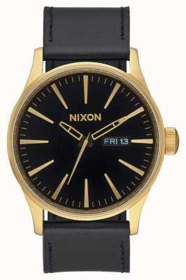 Nixon Wachleder | gold / schwarz | schwarzes Lederarmband schwarzes Zifferblatt A105-513-00