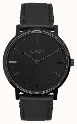 Nixon Porter Leder | alles schwarz | schwarzes Lederband | schwarzes Zifferblatt A1058-001-00