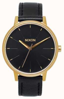 Nixon Kensington Leder | Gold / Schwarz | schwarzes Lederband | schwarzes Zifferblatt A108-513-00