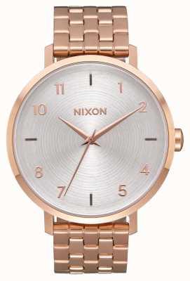 Nixon Pfeil | alles roségold / weiß | roségold ip stahlarmband | silbernes Zifferblatt A1090-2640-00