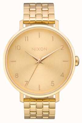 Nixon Pfeil | alles Gold | Gold IP Stahl Armband | goldenes Zifferblatt A1090-502-00