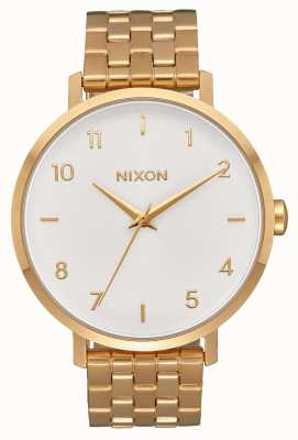 Nixon Pfeil | alles gold / weiß | Gold IP Stahl Armband | weißes Zifferblatt A1090-504-00
