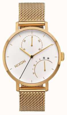 Nixon Kupplung | alles gold / weiß | Gold IP Mesh Armband | weißes Zifferblatt A1166-504-00