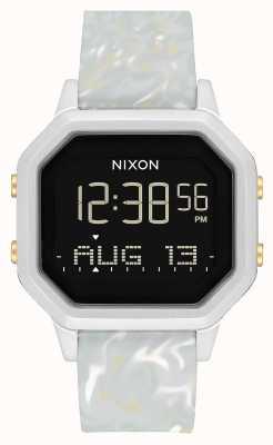 Nixon Sirene ss | silber / grauer Marmor | digital | marmorfarbenes Silikonarmband A1211-3413-00