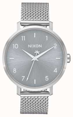 Nixon Pfeil milanese | alles Silber | Edelstahlgewebe | silbernes Zifferblatt A1238-1920-00