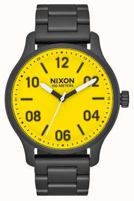 Nixon Patrouille | alle schwarz / gelb | schwarzes IP Stahlarmband | gelbes Zifferblatt A1242-3132-00