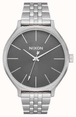 Nixon Clique | alles silber / grau | Edelstahlarmband | silbernes Zifferblatt A1249-2762-00