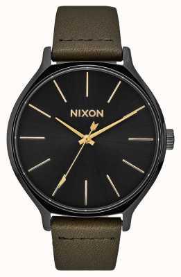 Nixon Clique Leder | schwarz / Müdigkeit | grünes Lederband | schwarzes Zifferblatt A1250-178-00