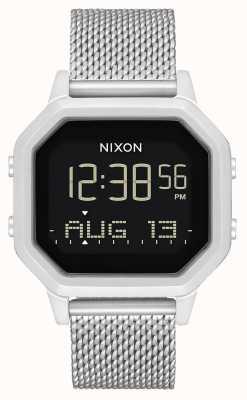 Nixon Sirene milanese | alles Silber | digital | Edelstahl-Netzarmband A1272-1920-00