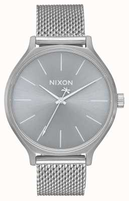 Nixon Clique milanese | alles Silber | Edelstahl-Netzarmband | silbernes Zifferblatt A1289-1920-00