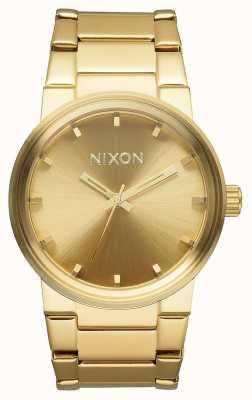 Nixon Kanone | alles Gold | Gold IP Stahl Armband | goldenes Zifferblatt A160-502-00