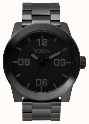 Nixon Unteroffizier ss | alles schwarz | schwarzes IP Stahlarmband | schwarzes Zifferblatt A346-001-00