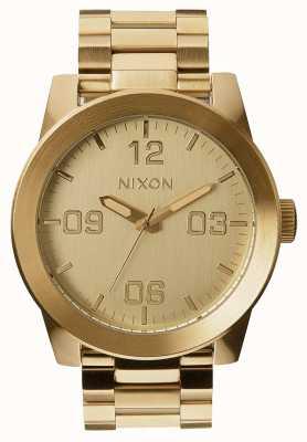 Nixon Unteroffizier ss | alles Gold | Gold IP Stahl Armband | goldenes Zifferblatt A346-502-00