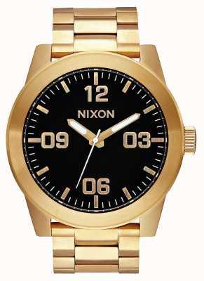 Nixon Unteroffizier ss | alles gold / schwarz | Gold IP Stahl Armband | schwarzes Zifferblatt A346-510-00