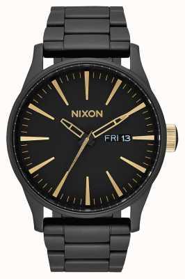 Nixon Wachposten ss | mattschwarz / gold | schwarzes IP Stahlarmband | schwarzes Zifferblatt A356-1041-00