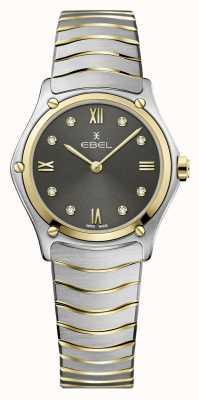 EBEL Frauensportklassiker | zweifarbiges Stahlarmband | graues Diamantzifferblatt 1216419A