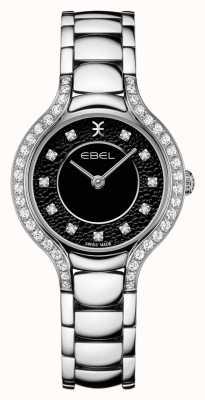EBEL Frauenbeluga | Edelstahlarmband | schwarzes Zifferblatt | Diamant gesetzt 1216466