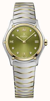 EBEL Frauensportklassiker | zweifarbiges Stahlarmband | grünes Zifferblatt 1216473A
