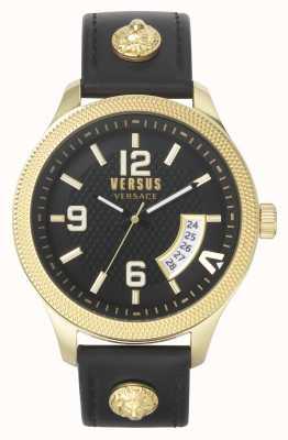 Versus Versace | Männer | reale | schwarzes Lederband | schwarzes Zifferblatt | VSPVT0220