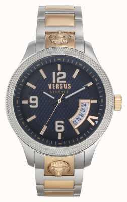 Versus Versace | Männer | reale | zweifarbiges Stahlarmband | blaues Zifferblatt | VSPVT0920