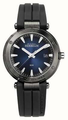 Michel Herbelin Herren Newport | schwarzes Kautschukband | blaues Zifferblatt 12288/G15CA