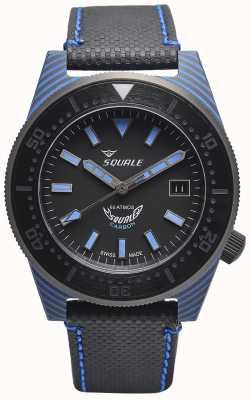 Squale Carbon Style | schwarz / blaues Zifferblatt | schwarzes Mikrofaserband - blaue Nähte T183BL-CINT183BL