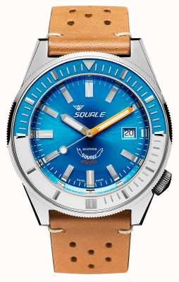 Squale Matic xse | stahlblaues Zifferblatt | Kamelfarbenes Lederband MATICXSE00-CINU1565CM