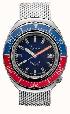 Squale 2002a blau-rot | Stahlgitterband | blaues Zifferblatt B083401-CINSS22