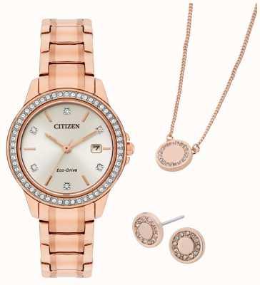 Citizen Rosévergoldete Uhr und Schmuck-Geschenkset von Eco-Drive FE1173-52A