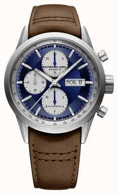 Raymond Weil Freiberufler | chrono | automatisch | blaues Zifferblatt | braunes Leder 7732-TIC-50421