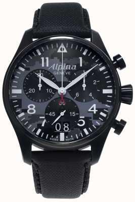 Alpina Startimer Pilot Chrono | schwarzes synthetisches Armband | graues Zifferblatt AL-372BMLY4FBS6