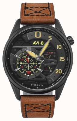 AVI-8 Hawker Harrier II - Pik-Ass | automatisch | braunes Lederband AV-4070-04