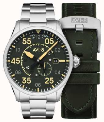 AVI-8 Spitfire | automatisch | grünes Zifferblatt Edelstahlarmband | extra Lederband AV-4073-22
