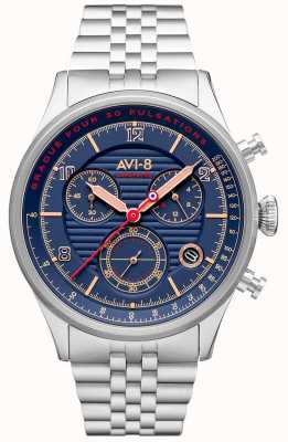 AVI-8 Flyboy lafayette | Chronograph | blaues Zifferblatt | Edelstahlarmband AV-4076-22
