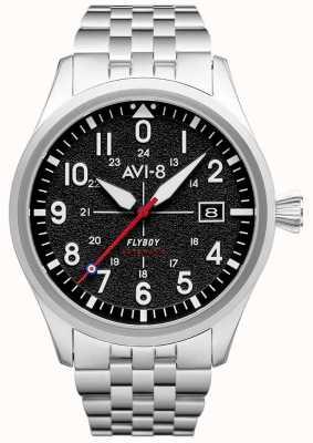 AVI-8 Flyboy | automatisch | schwarzes Zifferblatt | Edelstahlarmband AV-4075-11