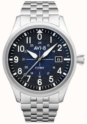 AVI-8 Flyboy | automatisch | blaues Zifferblatt | Edelstahlarmband AV-4075-22