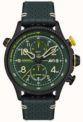 AVI-8 Hawker Jäger | Chronograph | grünes Zifferblatt | grünes Lederband AV-4080-03