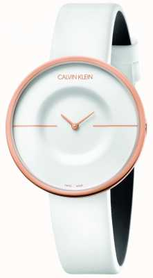 Calvin Klein | Frauen | Manie | weißes Lederband | roségoldes Gehäuse | KAG236L2
