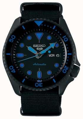Seiko 5 sportarten | Männer | schwarzes Nylonband | schwarz / blaues Zifferblatt SRPD81K1