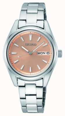 Seiko Damen Quarz Edelstahl Armband Roségold Zifferblatt SUR351P1