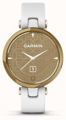 Garmin Lily klassische Ausgabe | hellgoldene Lünette | weißer Fall | italienisches Lederband 010-02384-B3