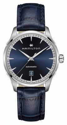 Hamilton Jazzmaster | auto | blaues Lederband | blaues Zifferblatt H32475640