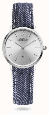 Michel Herbelin Stadt | blauer Jeansriemen | silbernes Zifferblatt 16915/11JN