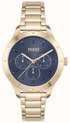 HUGO #Freund | vergoldetes Stahlarmband | blaues Zifferblatt 1540092