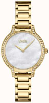 BOSS Gala | Damenarmband aus vergoldetem Stahl weißes Perlmutt 1502557