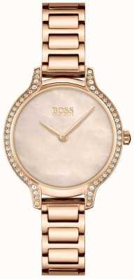BOSS Gala | Damenarmband aus roségoldem Stahl | roségoldenes Zifferblatt 1502556