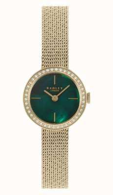 Radley Damen vergoldetes Netzarmband | grünes Perlmuttzifferblatt RY4568